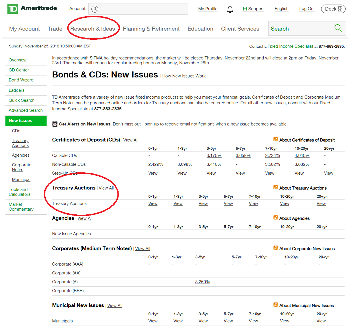 TD Ameritrade Treasury Bills/Bonds/Notes Buying at Auction 2019