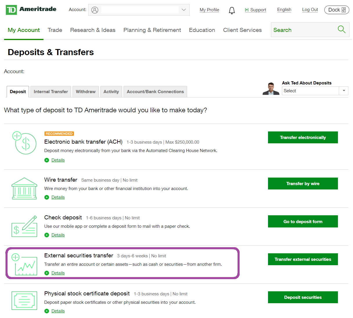 Transfer Etrade Account to TD Ameritrade